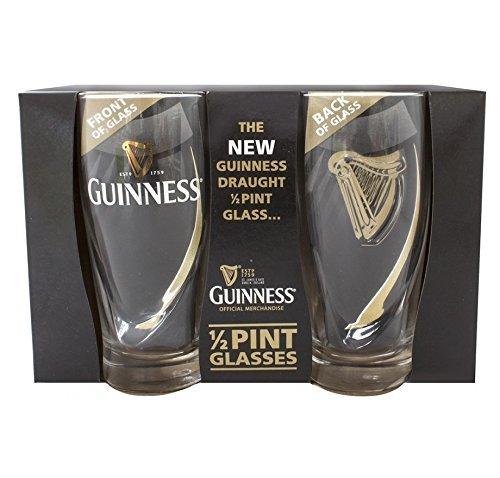 Offizielles Guinness Logo 2er Pack 1/2 Pint-Glas-Set mit geprägter Harfe