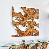 Möbel Bressmer Teakholz Wandbild NAGA 120cm x 120cm Unikat Handarbeit Wanddeko zum Hängen