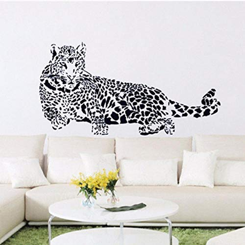 Black Cheetah (Cartoon tier Black Cheetah Leopard PVC Wandaufkleber 3D Abnehmbare Wandtattoos Wohnkultur Aufkleber vinyl Kindergarten poster 110x52 cm)