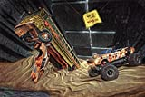 Kunst Druck Bild dystopische Mad Max Wasteland Szene Leinwand Poster Tapete Mousepad Acrylglas Alu-Dibond BalsaHolz (15 mal 10 cm, Massive Acrylglasplatte)
