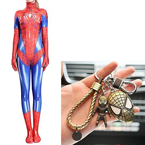 Erwachsenen-trikots (WERTYUH Frauen Spiderman Kostüm Cosplay Kinder Erwachsene Halloween Trikot Kostüm Ball Spandex Overall + Spiderman Keychain Set,Adult-XXL)