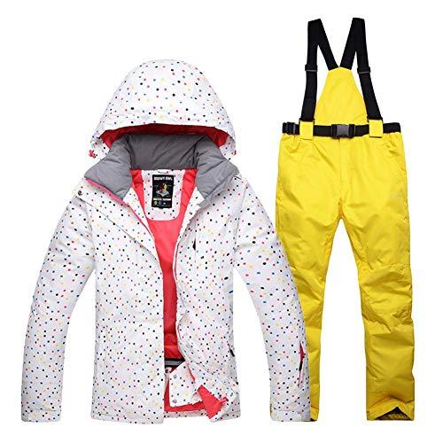 75d5d1e606e4b Combinaison de Ski Femme Veste Pantalon, Ski Doudoune Chaude Imperméable  Fille Grande Taille Parka à Capuche Hiver avec Salopette Coupe-Vent Épais  2PCS