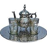 Service à thé marocain traditionnel pour 2 personnes avec théière, verres et plateau