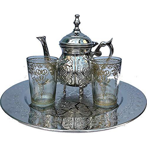 Traditionelles marokkanisches Tee- und Kaffeeservice für 2 Personen, Teekanne, Gläser und Tablett Arabesque Tee