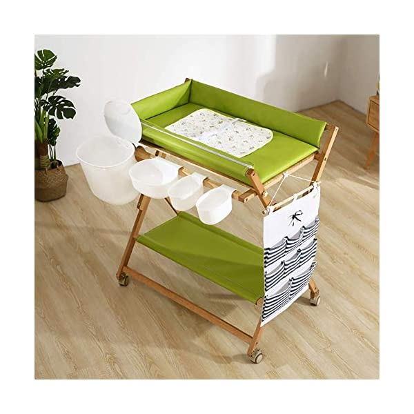Baby Changing Table Heavy Duty Wooden, Folding Infant Diaper Station Nursery Organizer with Wheels & Storage GUYUE Beech Material: Birch wood hard, good load bearing performance, no deformation, strong pressure resistance, clear texture. High-grade PU Leather: It has excellent wear resistance, excellent breathability, aging resistance, soft and comfortable. Size: As shown, 80x56x(80-85-90-95)cm, Bearing weight 150kg. 3
