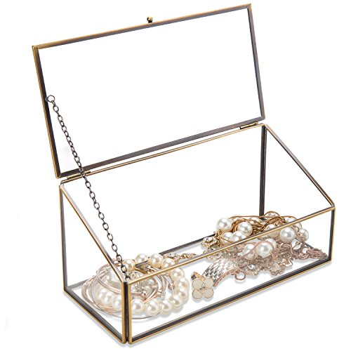 Dekorative klar Glas & Messing Ton Metall schräg Deckel Shadow Box Jewelry Brust/Storage Display Fall