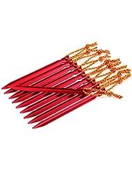 Estacas para Tienda de Campaña, Netspower 18 cm Aleación de Aluminio Estacas para Tienda de Campaña con Cuerda de Camping Exterior Playa Paquete de 16 piezas (Rojo)