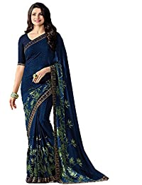 Calendar Women's Georgette Saree With Blouse Piece(Green New Fashion 2018)