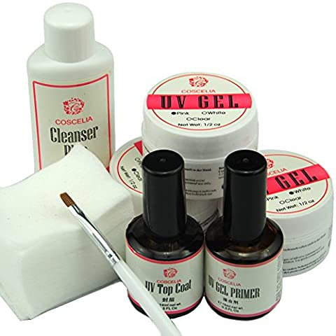Coscelia Kit des Ongles Nail Art Gel UV Top Coat Base Primer Brosse à Ongle