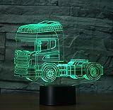 YKMY 2018 Kopf LKW 3D Illusion Lampe Nachtlicht Mit 7 Farben Blinkt & Touch Schalter USB Powered, Schlafzimmer Schreibtischlampe Für Kids'gifts Home Decoration