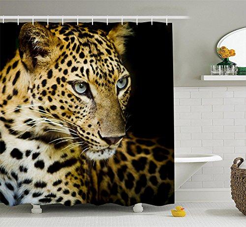 Wasserdichter Schimmel Polyester Duschvorhang mit Haken -Leopard 180x180cm (03) -