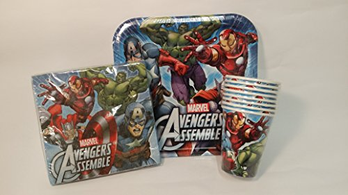 Unbekannt Avengers Party Set & Party - Lot de 8 gobelets - Lot de 8 assiettes - Lot de 16 serviettes - Marvel Avengers Age of Ultron Service de table de fête