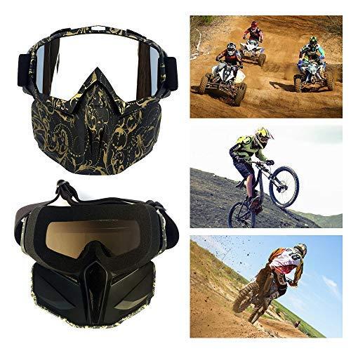 DaQao Fahrradbrille Sonnenbrille Motorrad Goggle Motocross, Masken, Motorrad Sonnenbrille Motorrad Schutzbrille Staubschutz Brille, abnehmbar Gesichtsmaske Winddicht für Outdoor Fahrrad