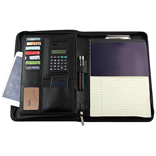 boshiho Vorstellungsgespräch Executive Padfolio Organizer Dokumente mit Taschenrechner Notizblock und Stifthalter (A4) (Taschenrechner Business Card Holder)