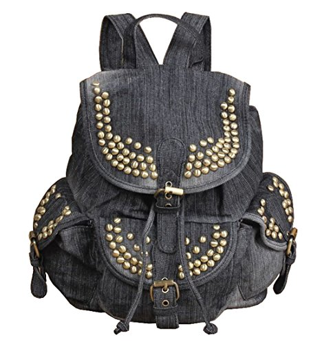 SAIERLONG Women's And Girl's Backpack School Bag Travel Bag black jean