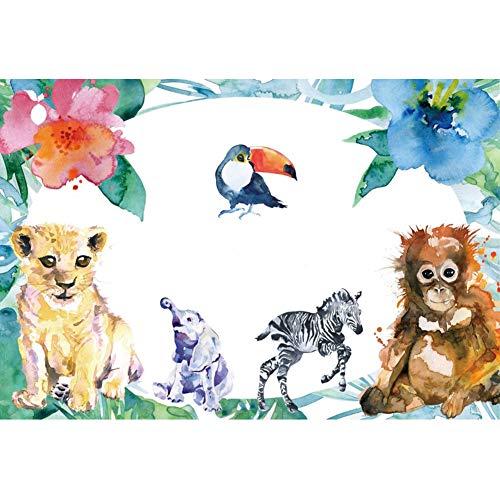 OERJU 1,5x1m Karikatur Hintergrund Blumen Umgeben Tiere Löwe Zebra Hintergrund zum Fotografie Party Porträt Foto Requisiten Kinder Zimmer Poster Kuchen Tabelle Dekoration (Zebra-zimmer-dekorationen)