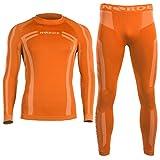 Norde - Biancheria intima tecnica, termica, da uomo, traspirante, per ciclismo e running, Orange, L