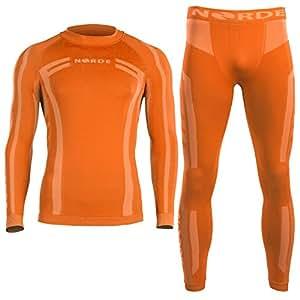 NORDE Base Layer SET Manches Longues Homme + Collant Long Homme (Orange,XXL)