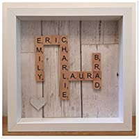 Personalised Scrabble Tile Box Picture Frame Choose Ivory or Wooden Tiles - 11 Background Colours to Choose
