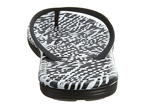 Nike Wmns Solarsoft Thong 2 Print, Tongs Femme Blanc Cassé - Blanco (Black / White)