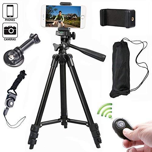 Kamera Stativ 102cm Aluminium Smartphone Stativ mit Handy Halterung und Bluetooth Fernbedienung Handy Stativ für iPhone Samsung und Kamera - Für Videoaufnahmen Kamera