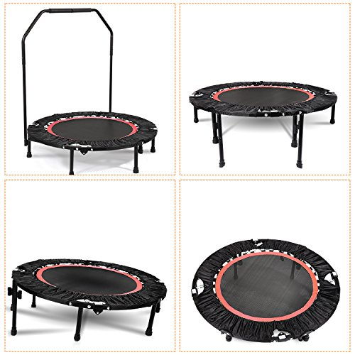 Ultrey Fitness Trampoline(Ø 102cm) Faltbar mit Griff, Indoor Sport Trampolin Komplettset Minitrampolin mit Höhenverstellbarem Haltegriff bis 135kg belastbar (Rot)