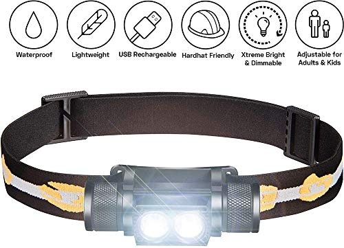 Rechargeable Head Torch 1000 Lumen 2X CREE LED w/ 2200 mAh Battery - Lightweight, Durable, Waterproof Headlamp 200 Meters Beam - Great as Camping and Hiking Headlight