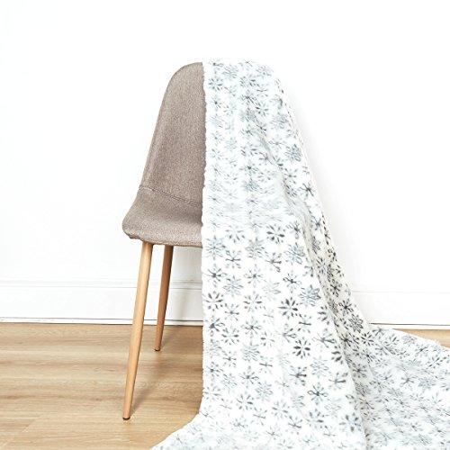 I Fil Home Plaid Fausse Fourrure Flocon Blanc 180 x 220 cm