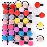 20pcs Gomas del Pelo Niña + 20pcs Clips de Pelo Niña con Pompones Lazo de Pelo Coleteros Elásticos Pinza de pelo Horquillas para Niña Bebé (10 Colores Variados)
