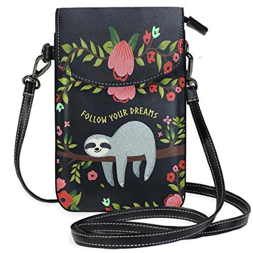 ZZKKO Animal Faultier Follow On Your Dreams Mini-Umhängetasche, Handtasche, Leder, für Damen, lässig, täglich, Reisen, Wandern, Camping -