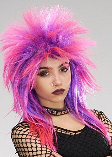 Boland 80er Jahre Rock Punk Pink und Purple Diva Perücke