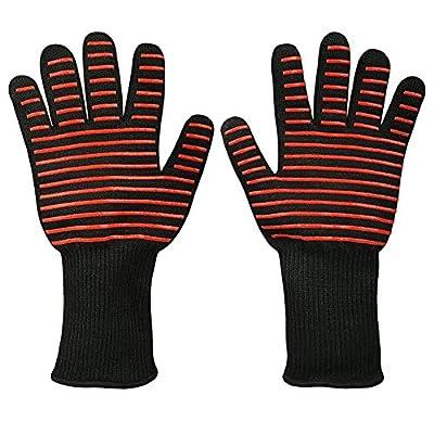 Hitzebeständig Ofen Handschuhe qgstar-932°F Extreme hitzebeständig Kevlar & Silikon Isolierte Schutz Pad für BBQ, Kochen, Grillen, Backen oder Topflappen 1Paar