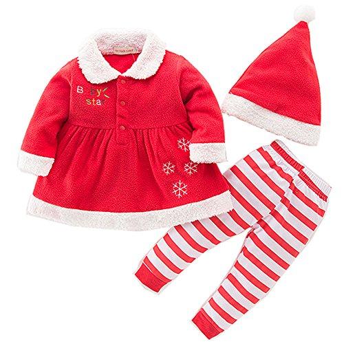 Chickwin Bébé Garçon Fille Costume Pour Bébé Show De Noël À Manches Longues Babys De Noël Romper Tops + pantalons + Hat Outfits (Fille, 95)