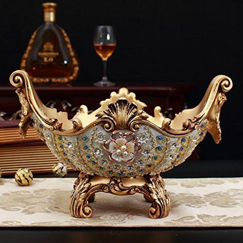 XOYOYO Europäischen Luxus Home Dekorationen Wohnzimmer Couchtisch Obst Platten von Tissue Boxen Vasen Aschenbecher Anzug zweckmässig eingerichtet, Gold Peacock Obstteller Dv5