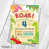 Personalised Cute Dinosaur Themed Kids Birthday Party Invitations Thank You Cards