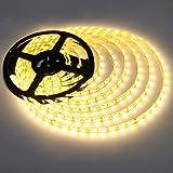 LE LED Streifen 5m 12V Selbstklebend, IP65 Wasserdicht DIY Flexibel Leiste mit 300 Stücke 5050 LEDs, 3000 Kelvin Superhell Warmweiß LED Band für Innen Heim Küche Feiertag Dekoration