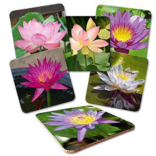 """Addies Glas-Untersetzer 6er-Set\""""Blumenträume\"""", mit Kork-Untermaterial und in schöner Klarsichtbox geliefert"""