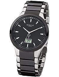 Regent Herren-Armbanduhr Elegant Analog Stahl Keramik-Armband schwarz silber Funk-Uhr URFR237