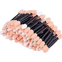 Desechable Cepillo de Sombra de Ojos Doble Cara Esponja Aplicadora Maquillaje Oval, 100 Paquetes