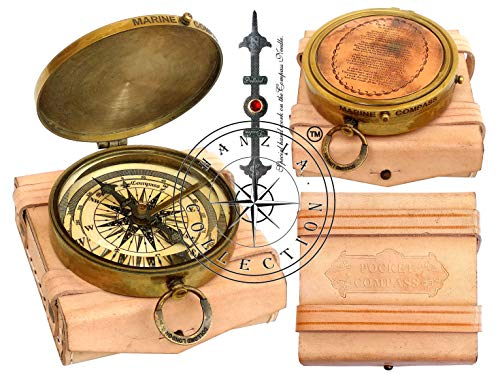 Hanzla Collection Kompass-Tasche, mit Gravur Robert Frost Gedicht, Messing, Antik-Finish, inkl. Lederetui -