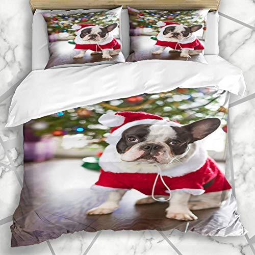 Soefipok Bettwäschesets Claus Red Pet Französische Bulldogge Dressed Santa Kostüm Look Weihnachtsferien Hundewelpe Funny Happy Mikrofaser Bettwäsche mit 2 Kissenbezügen