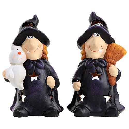 ko Teelichthalter Hexen Schwestern aus Keramik (Led Beleuchtete Gespenster)