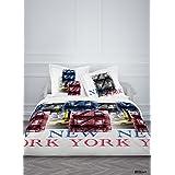 Today 015595 Enjoy Ny Brooklyn Housse de Couette 220 x 240 cm + 2 Taies d'Oreiller 63 x 63 cm Coton Rouge