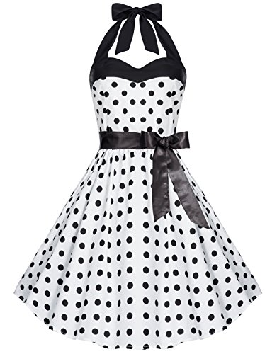 Zarlena Damen 50er Retro Rockabilly Polka Dots Petticoat Neckholder Kleid Weiss mit Schwarzen Dots...