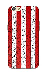 Oppo A57 Case, Red-White Strips Slim Fit Hard Case Cover/Back Cover for Oppo A57