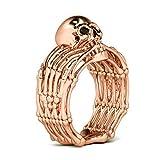 Anello da uomo con teschio, color dorato/rosa, stile Pirate Jewelry e base metal, 19, cod. EDR414