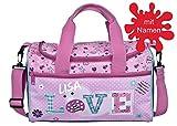 Sporttasche mit Namen Bedrucken Love, Blumen, Herzen, Reisetasche inkl. NAMENSDRUCK