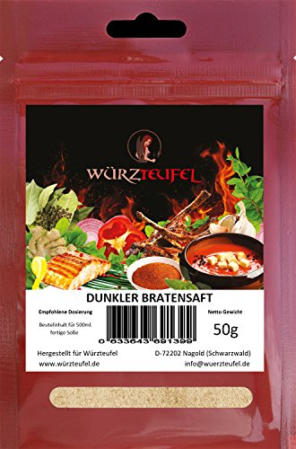 Preisvergleich Produktbild Dunkler Bratensaft,  leichte Bratensoße,  Grundsoße. Ohne Geschmacksverstärker,  Vegan. 2 Beutel je 50g. (für 1 Liter Soße)