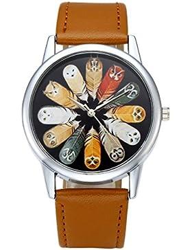 JSDDE Uhren,Fashion Damen Herren Armbanduhr Eule Federn Muster Damenuhr PU Lederband Annalog Quarzuhr,Hellbraun