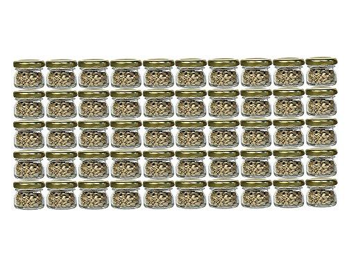 30 Ml Glas (60er Set Sturzgläser Mini Gläser | Füllmenge 30 ml | Deckelfarbe Gold | To 43 Rundgläser Marmeladengläser Obstgläser Einweckgläser Honig Gläser Einmachgläser Probiergläser, Imker)